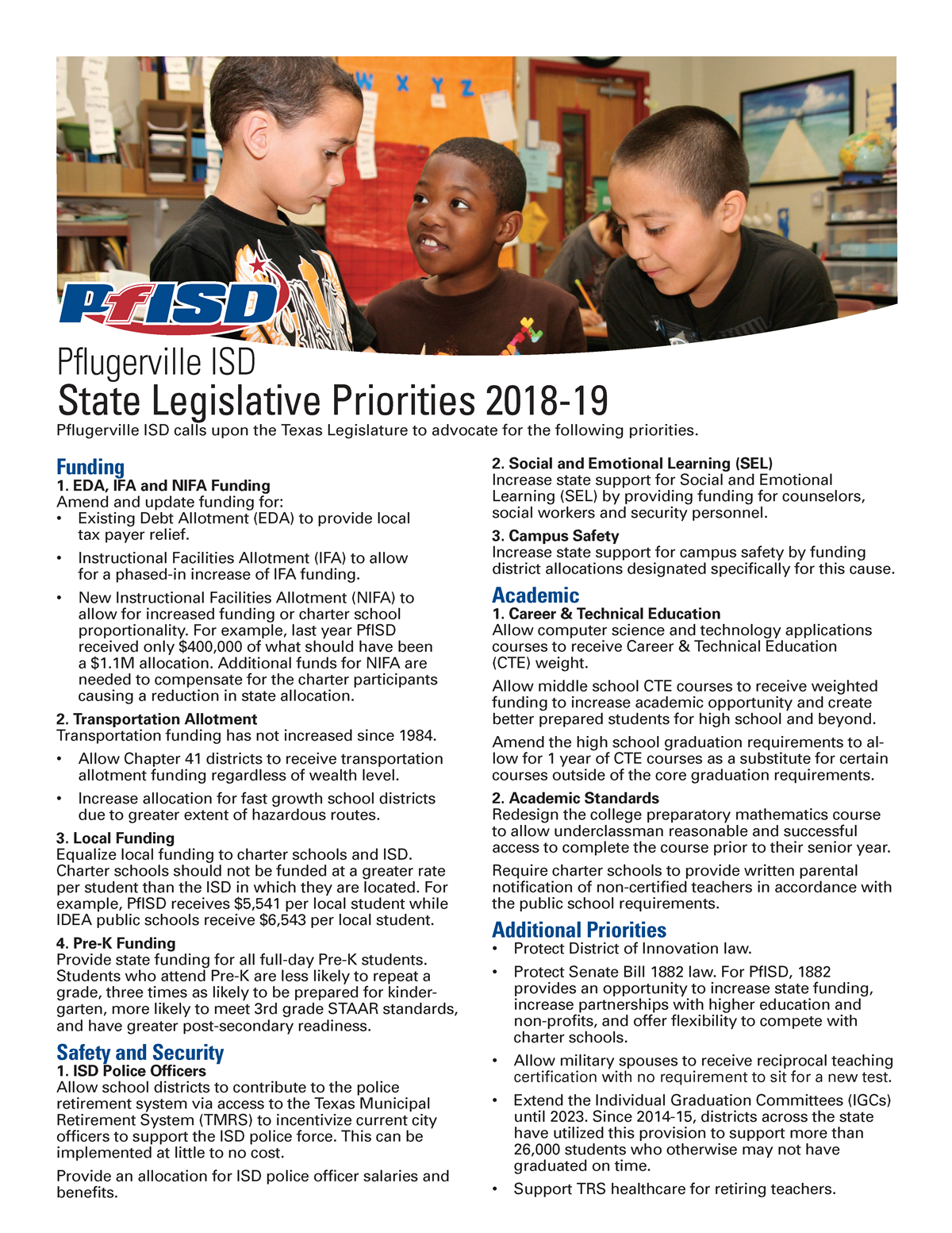 Legislative Priorities 2018