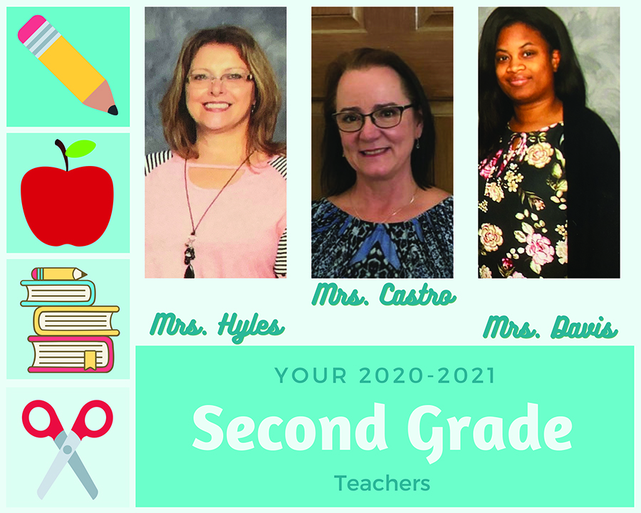 2020-21 Second Grade Teachers: Mrs. Hyles, Mrs. Castro, Mrs. Davis