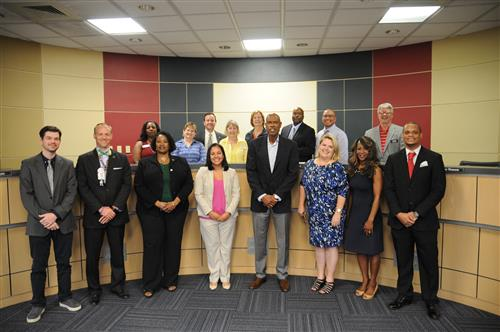 PfISD introduced its new secondary principals and APs to the Board.