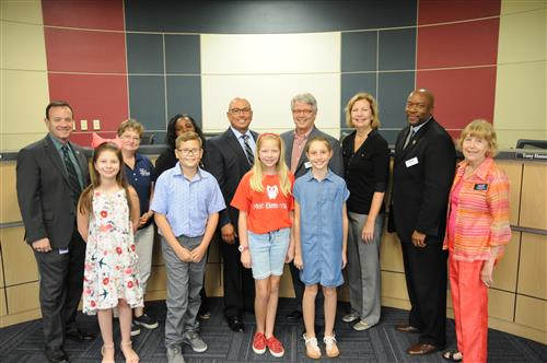 Mott students with Board - Pledges of Allegiance