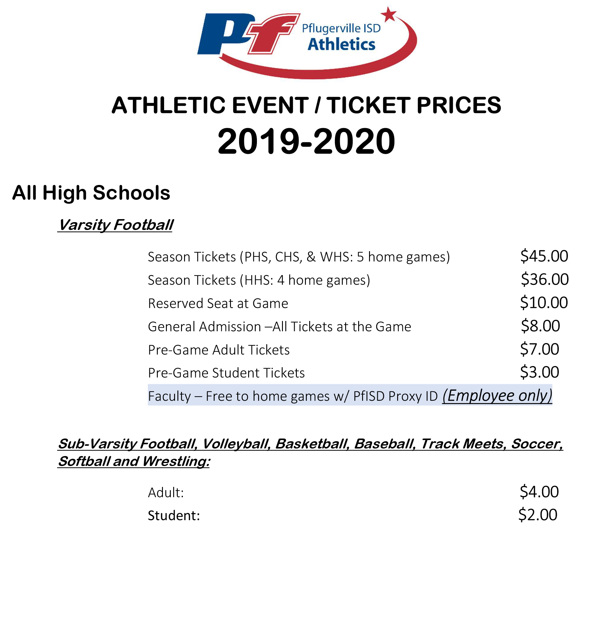 Ticket Prices: 2019-2020