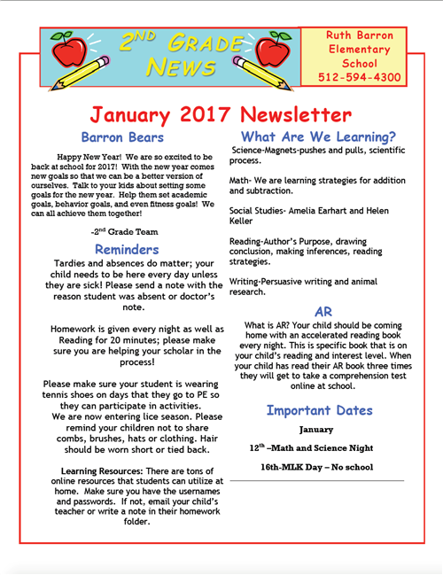 second grade january newsletter