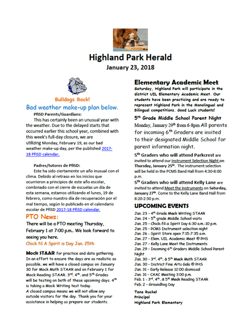 highland park january 23 newsletter