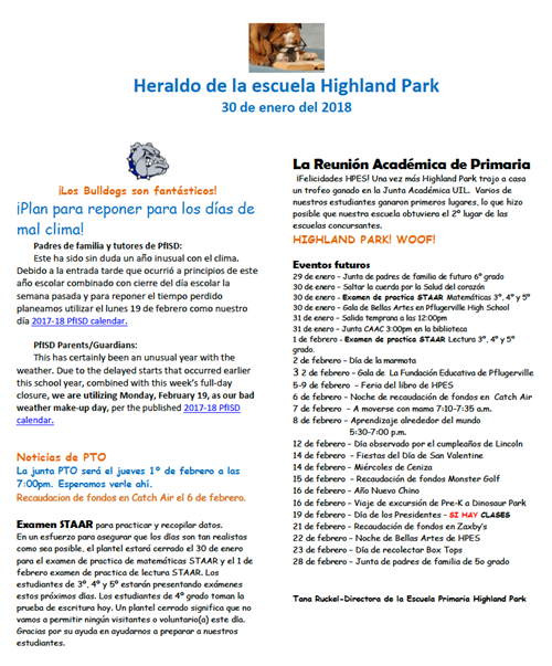 January Newsletter in Spanish