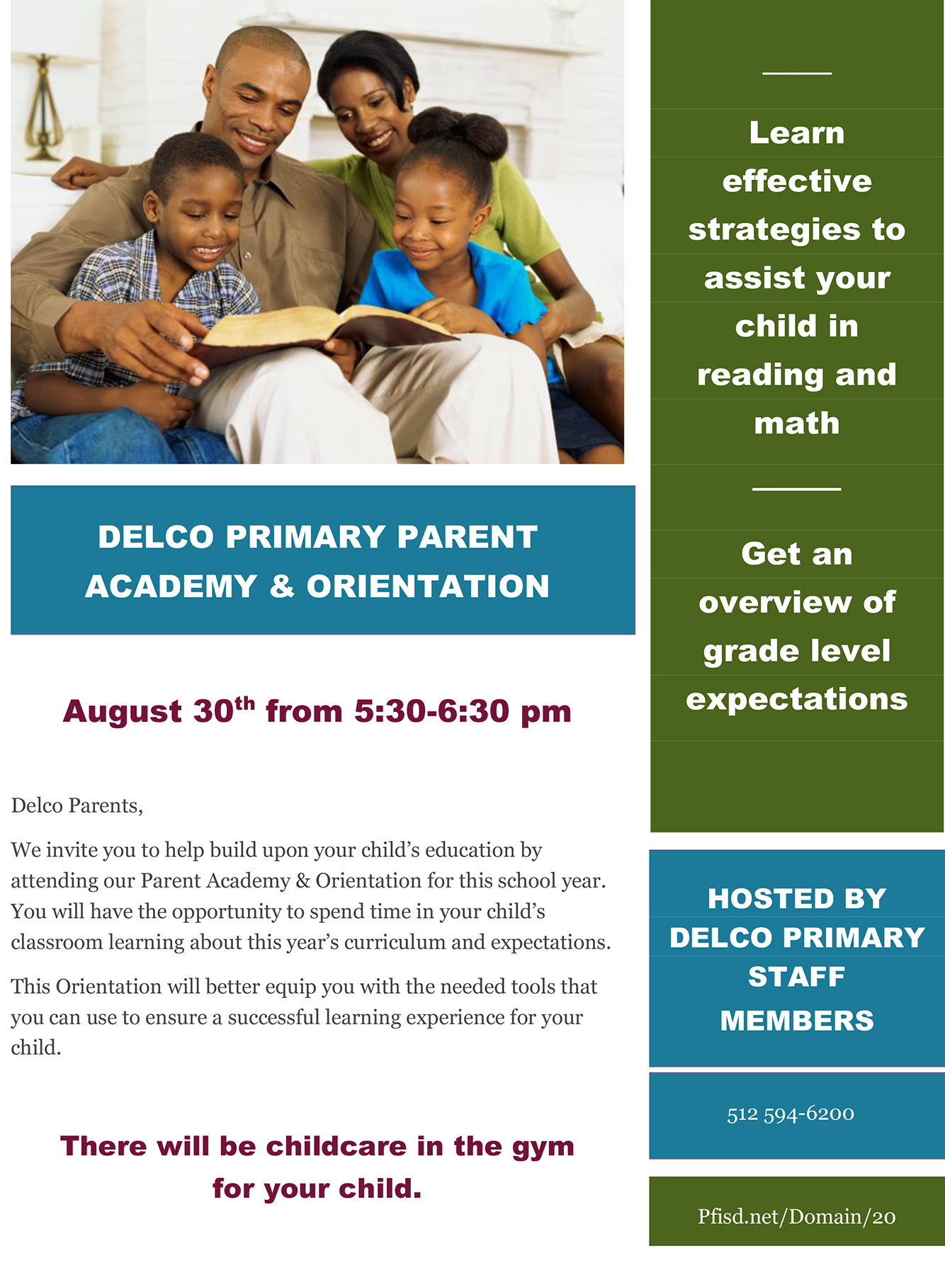 Delco Primary Parent Academy and Orientation
