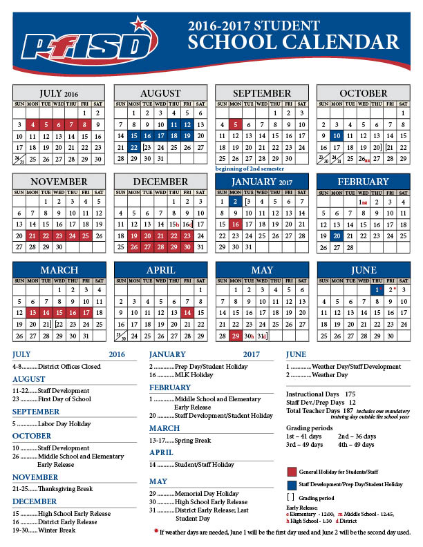 School Year Calendar / 2016-2017 District Calendar