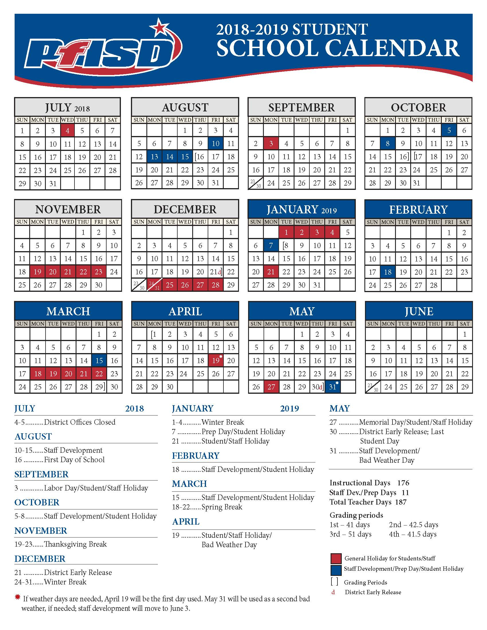 school year calendar 2018 2019 district calendar