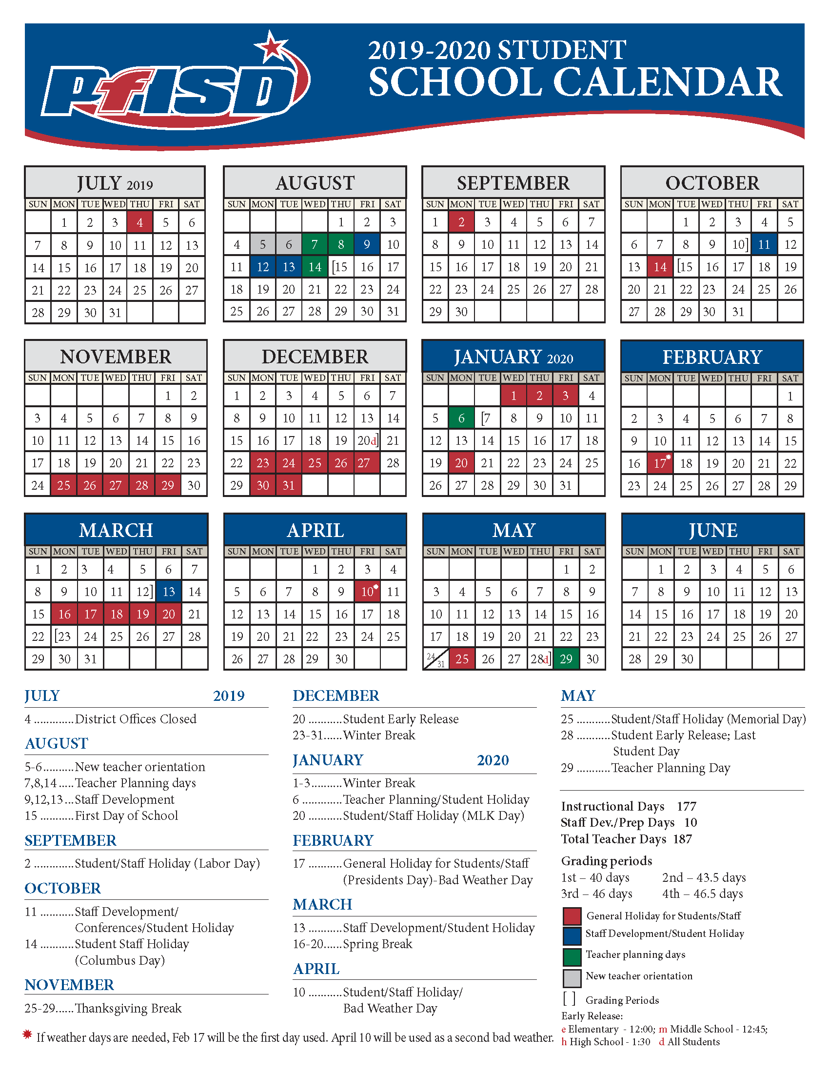 Calendario Premier 2020.School Year Calendar 2019 2020 District Calendar