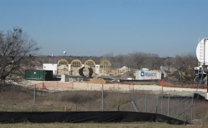 Photo of TES Construction 1/30/16 showing arch forms.