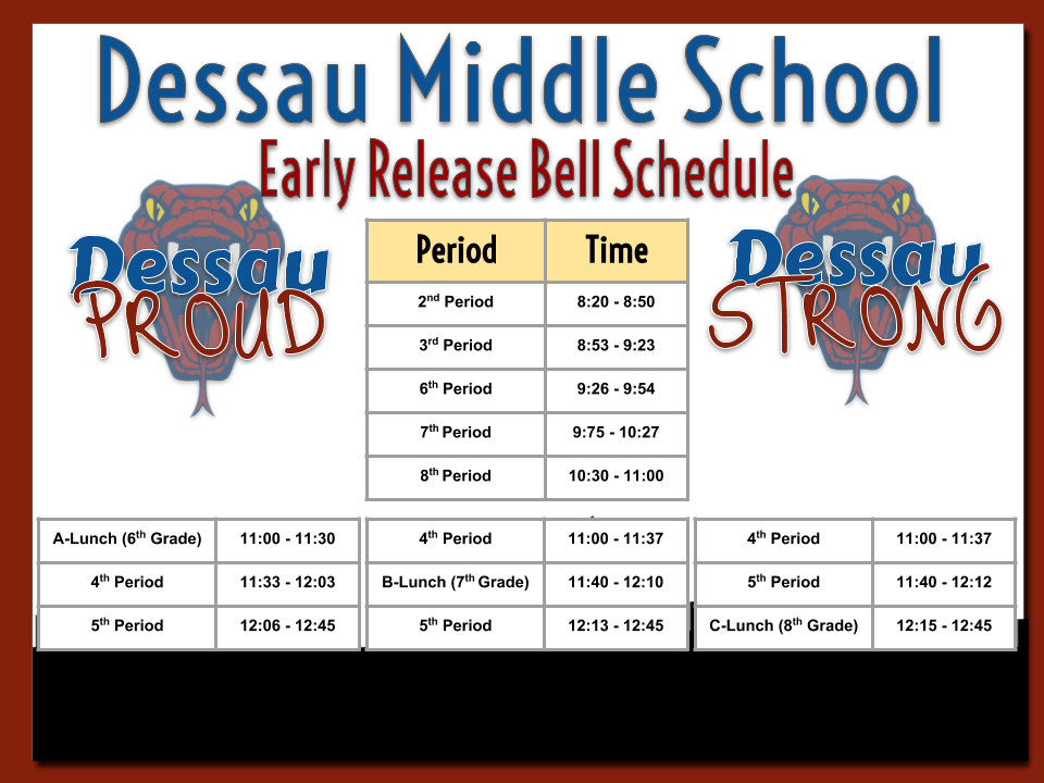DMS Bell Schedule EARLY RELEASE