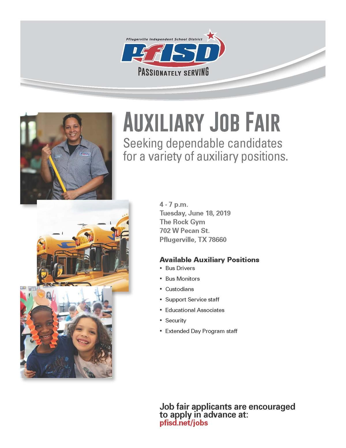 PfISD Auxiliary Job Fair to be held July 24