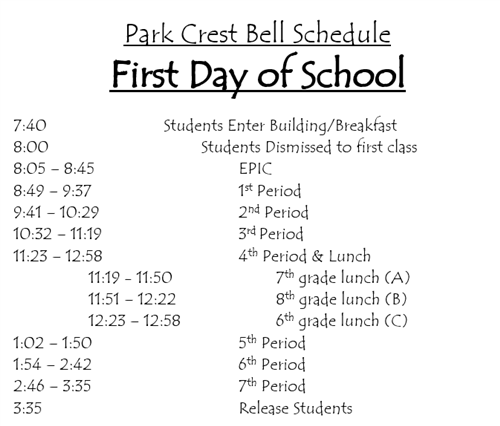 8-22-17 1st day of school bell schedule